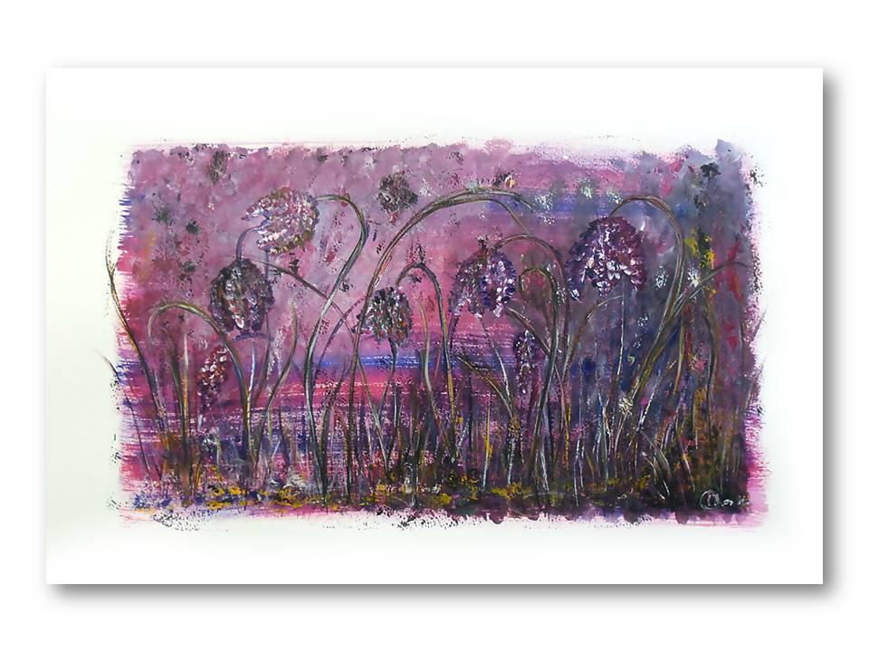 Dromerige Kievitsbloemen 1 - Acryl op papier - 30cmx50cm, Schilderijen