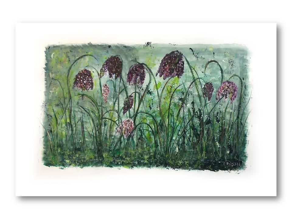 Dromerige Kievitsbloemen 2 - Acryl op papier - 30cmx50cm, Schilderijen