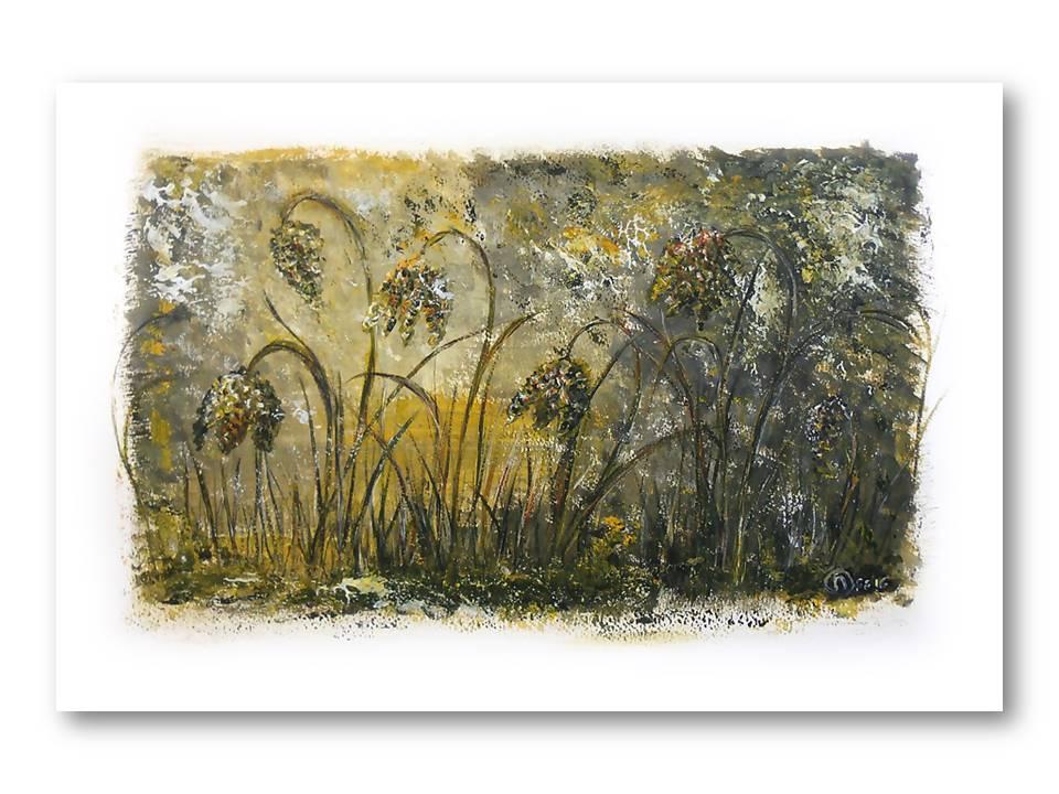 Dromerige Kievitsbloemen 3 - Acryl op papier - 30cmx50cm, Schilderijen