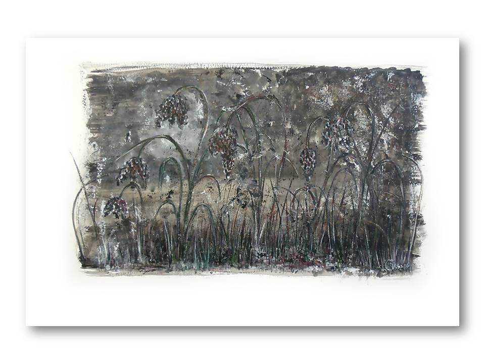 Dromerige Kievitsbloemen 4 – Acryl op papier – 30cmx50cm, Schilderijen